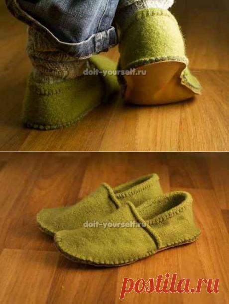 Вторая жизнь старых свитеров, шьём тёплые тапочки.