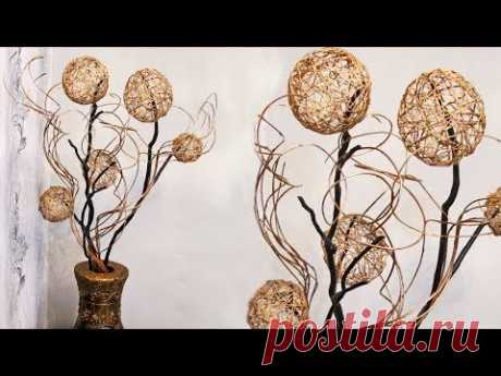 How to make a decor for the house of branches and spheres from threads