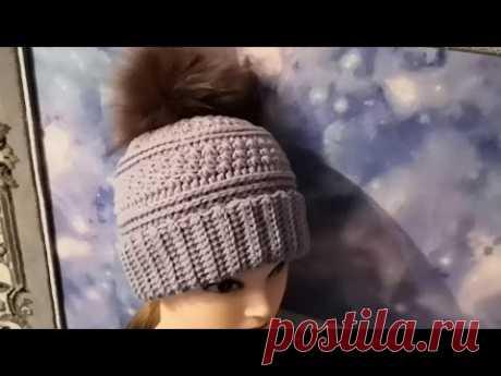 Шапка крючком, рисунок ,,Звездочки,, Шапочка с отворотом для начинающих. Crochet hat.