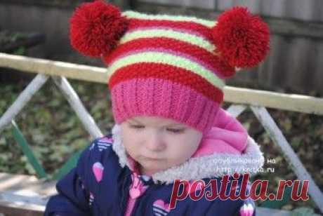Зимняя шапочка для девочки – работа Татьяны, Вязание для детей