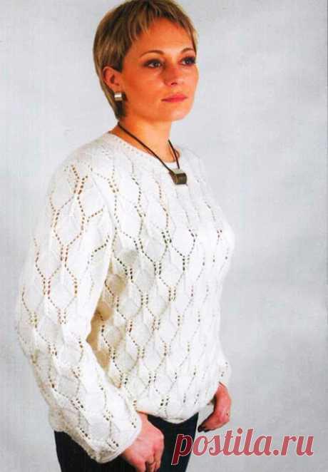 Пуловер прямого силуэта на размеры 52-54 спицами – схема теневого узора с описанием — Пошивчик одежды