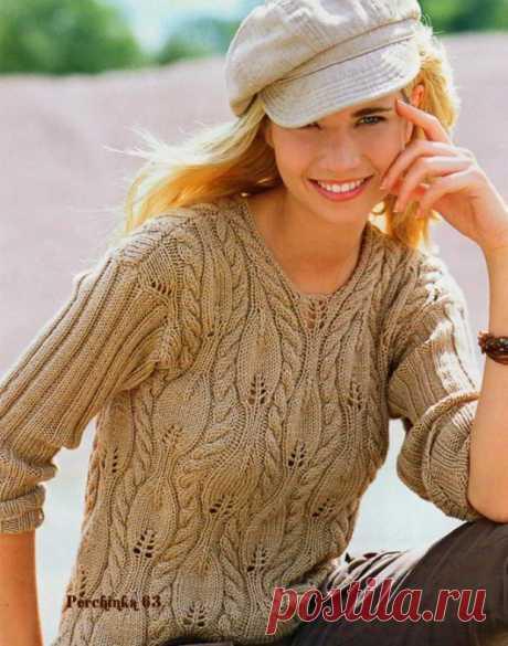 Пуловер ажурными листьями и жгутами - Perchinka63