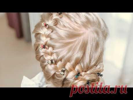 Прическа за пять минут на длинные волосы / Воздушная коса с цветком из волос прически за 5 минут - YouTube