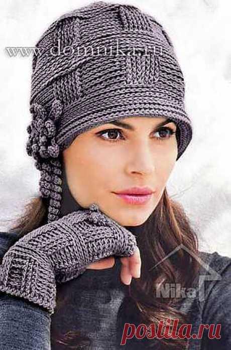 Стильная вязаная женская шапка.