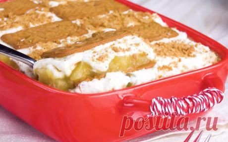 Зимний десерт из яблок и печенья - простой и очень вкусный рецепт к празднику. Этот простой и вкусный десерт еще называют Рождественским Тирамису. Он вполне может стать новинкой на праздничном столе или украсить собой обычный ужин. Попробуем?
