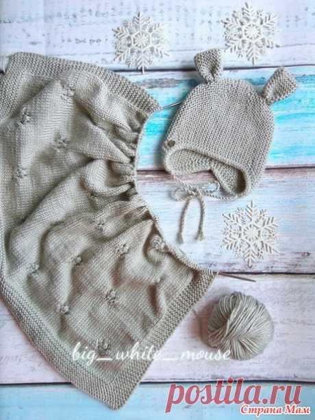 Онлайн - шапка с ушками для новорожденного укороченными поперечными рядами - Вяжем вместе он-лайн - Страна Мам