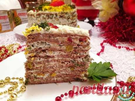 """Печеночно-овощной торт """"Новогодний"""" Кулинарный рецепт"""