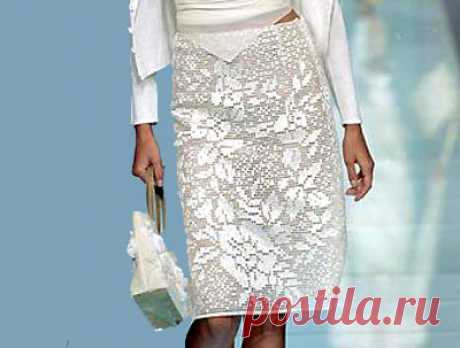 Шикарная филейная юбка Шикарная филейная юбка. Схема вязания крючком