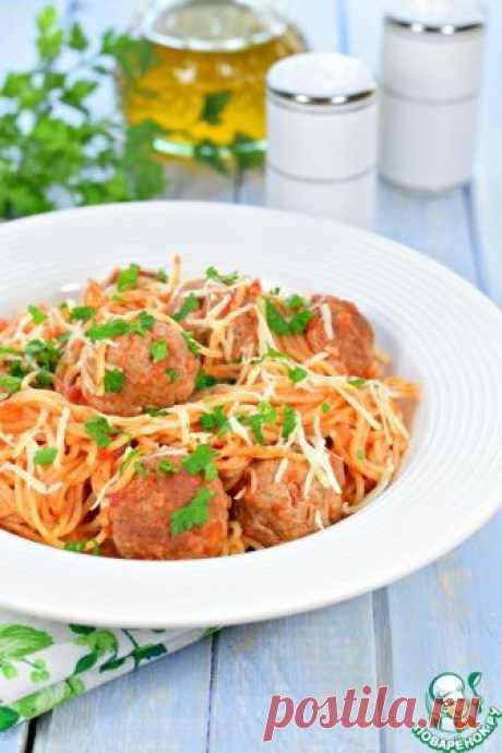 Спагетти с фрикадельками в томатном соусе – готовится в одной посуде