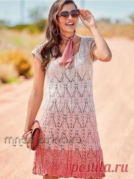 Вязаное ажурное летнее платье с коротким рукавом. Модель 159