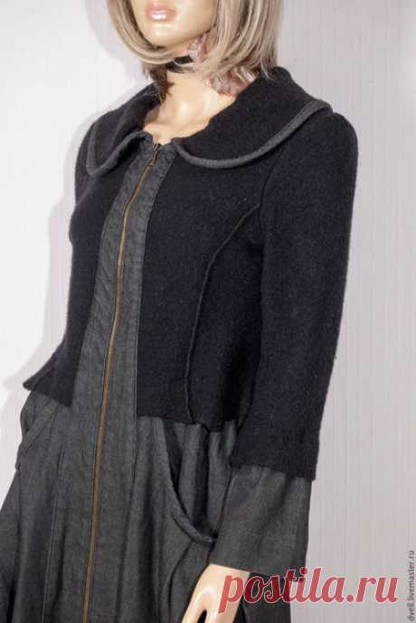 Купить платье Кобинированное Осень Зима - темно-серый, однотонный, для девушек, теплое платье, зима