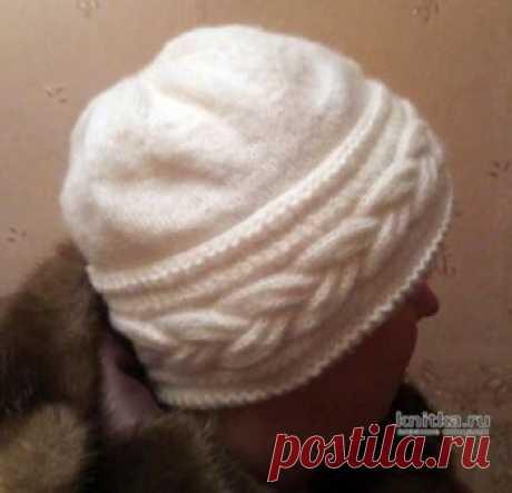 Женская шапочка с отворотом. Работа Ольги,  Вязание для женщин Женская шапочка связана из пряжи NAKO Angora Luks, в одну нитку, отворот-в две нитки (и для тепла, и для объема. Шапочка получилась легкая, очень теплая.