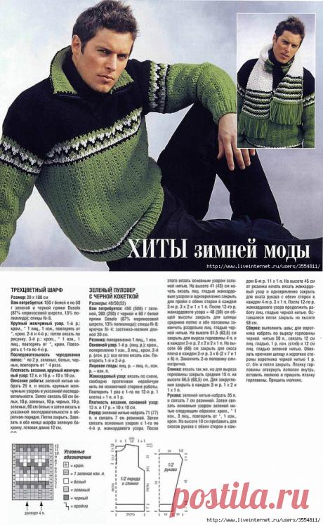 Мужской пуловер ,зеленый с черной кокеткой