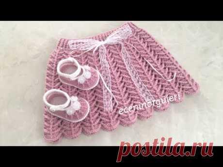Вязаная крючком стильная и красивая юбка принцессы / детская юбка в елочку