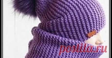Шапочка - бини и снуд платочной вязкой Как связать простую шапку бини спицами - описание вязания