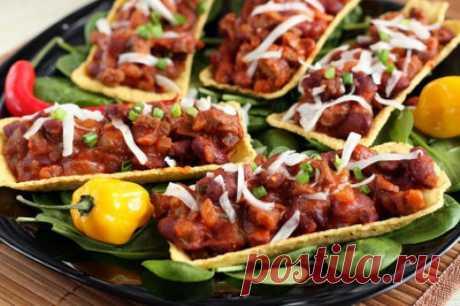 Закуска: тарелочки тако с говядиной — Вкусные рецепты