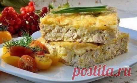 Легкий куриный пирог-запеканка (для завтрака). Калорийность на 100 гр - 130 ккал