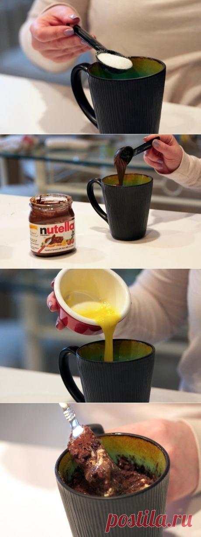 Как приготовить пирог из нутеллы в чашке - рецепт, ингредиенты и фотографии
