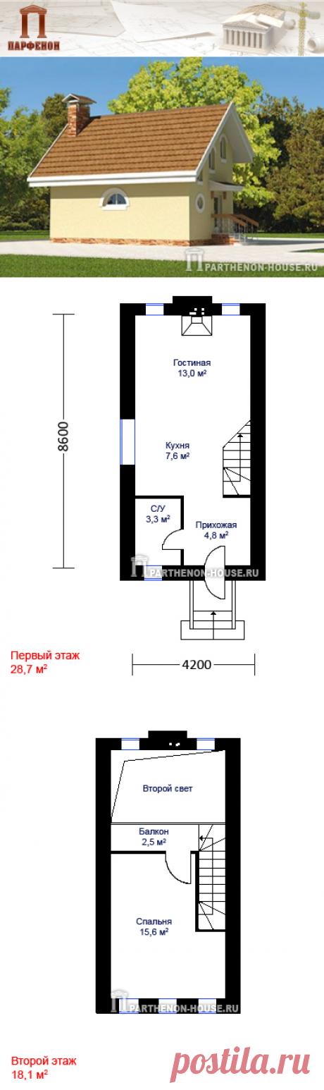 Проект самого узкого дома в строительстве из ячеисто-бетонных блоков ЯА 48-6 Проект небольшого, очень узкого дома для одной семейной пары. Несмотря на небольшие размеры - это полноценный загородный дом.   Площадь общая: 48,60 кв.м. Площадь жилая: 28,60 кв.м.   Технология и конструкция: Строительство дома из ячеистого бетона. Фундаменты: монолитный ж/б. Наружные стены: ячеистобетонные блоки.  Габаритные размеры дома: 4,20 х 8,6