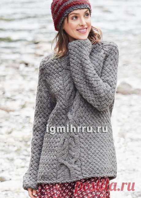 Пуловер с плетеным узором и «косами». Вязание спицами со схемами и описанием