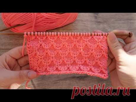 Узор «Соты из протяжек нити» спицами 🐝 Mock Honeycomb knitting pattern🌸