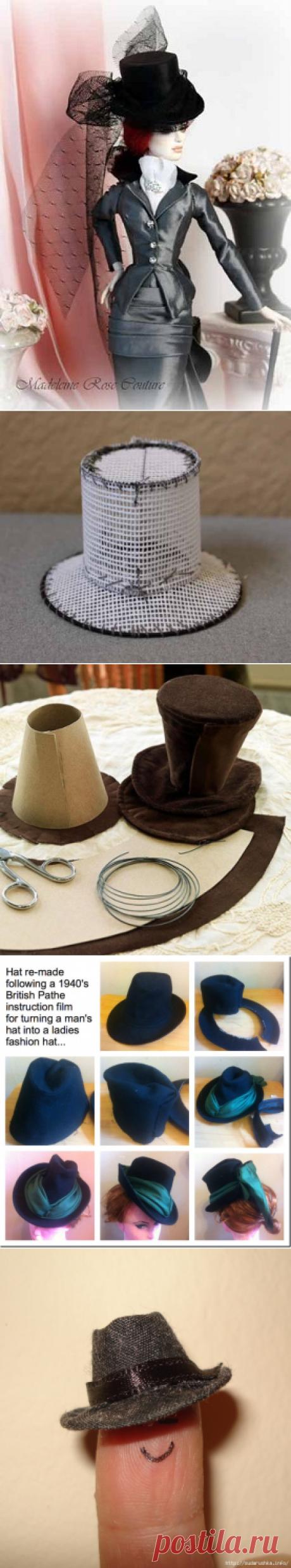 Головные уборы для кукол. Цилиндр, шляпа, кепка.