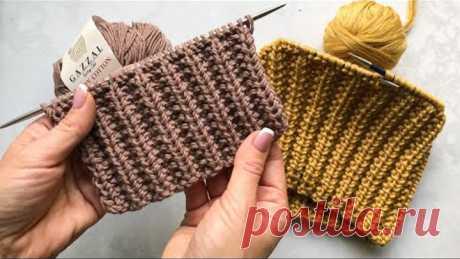 Супер классная двусторонняя резинка спицами для шапок, кардиганов, свитеров. Очень простой узор!