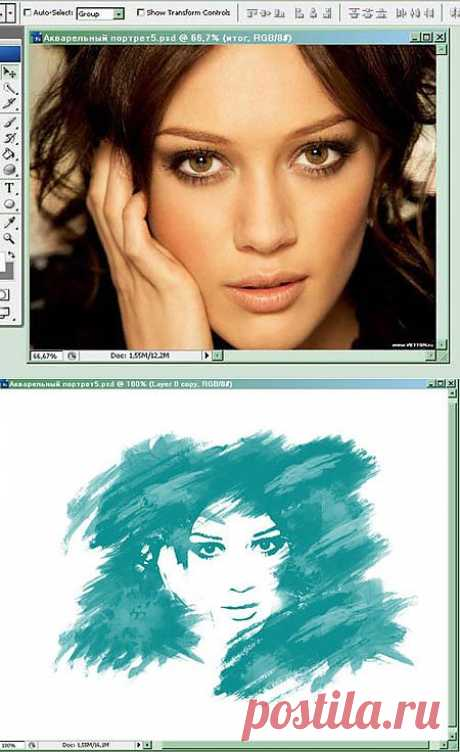 Монохромный акварельный портрет / Photoshop уроки и всё для фотошоп - новые уроки каждый день!