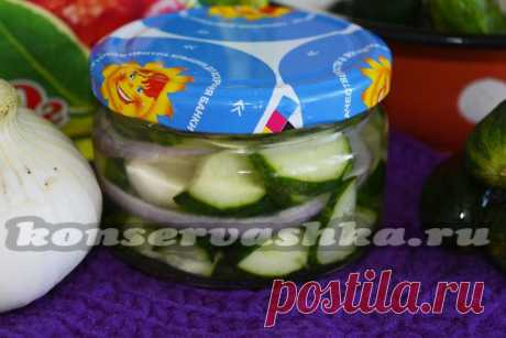 Cucumbers with onions for the winter crackling, without sterilization