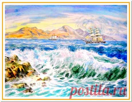 акварель: корабль в море