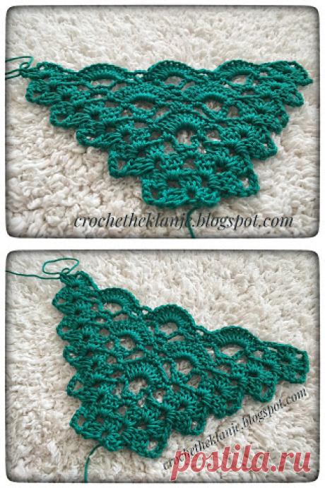 Crochet Heklanje: Moj rad 58 - Trokutasti šal 4