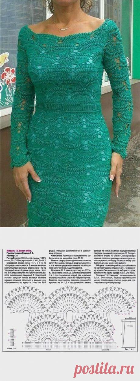 Роскошное платье из ажурных вееров крючком.