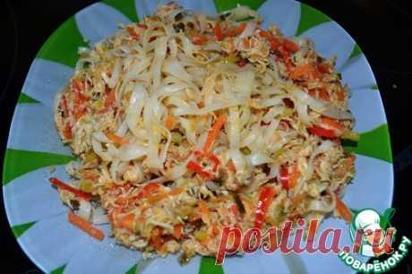 Рисовая лапша с курицей и овощами – кулинарный рецепт
