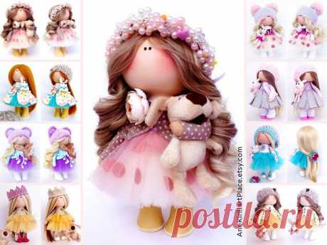 Nursery Textile Doll Original Love Gift Doll Handmade Pink | Etsy