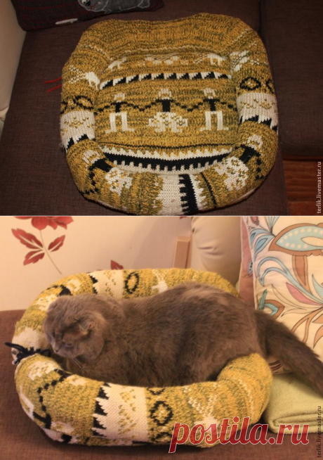 Делаем лежанку для кота, или Утилизация ненужных свитеров – Ярмарка Мастеров