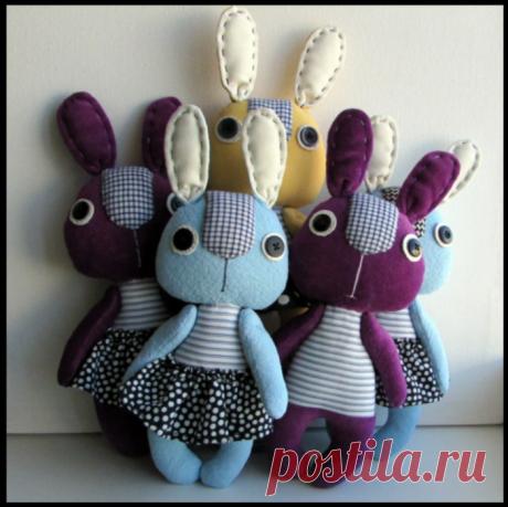 Разноцветные зайчата с выкройкой - шьем игрушки своими руками из остатков ткани