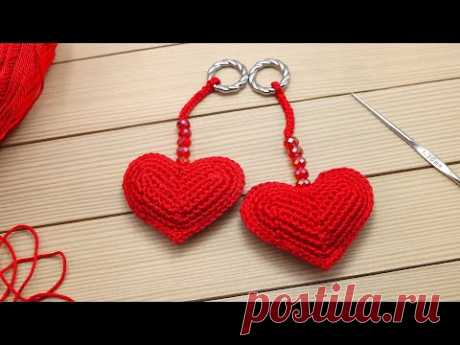Брелок СЕРДЕЧКО вязание крючком МАСТЕР-КЛАСС для начинающих How to Crochet a Heart  for beginners