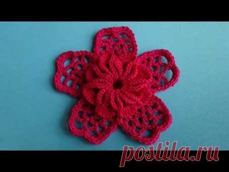 Crochet flower Вязаный цветок 68