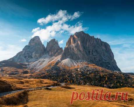 Картинки горы, осень, италия, дорога, val gardena, dolomites, природа - обои 1280x1024, картинка №413000