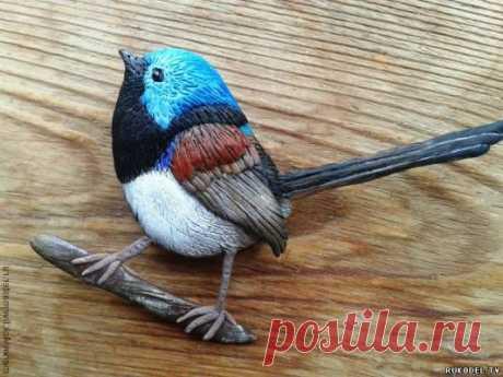 """Брошка """"птица"""" из полимерной глины, своими руками"""