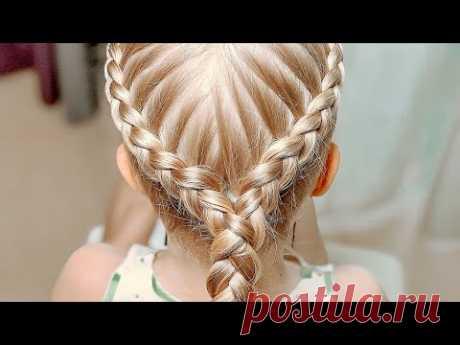 Прическа в садик для девочек 2019 / Перекрестные Две косы в одной / Красивые прически в школу - YouTube