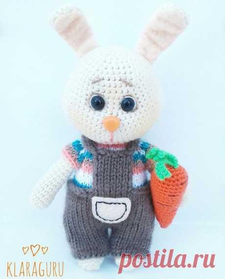 Вязаный зайка с морковкой крючком | Hi Amigurumi