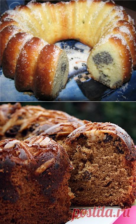 Лимонный кекс с маковой начинкой и Кофейный кекс с миндалем