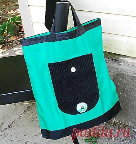 Зеленая складная сумка авоська на повседневную носку | Мамин Креатив