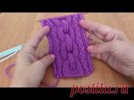 Рельефный пышный жгут-коса. Вязание спицами.