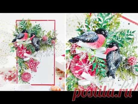 Сказочная открытка со снегирями и новогодними игрушками ручной работы (обзор)/скрапбукинг