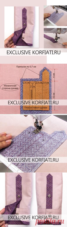 Застежка рукава с цельнокроеной планкой - мастер-класс А. Корфиати