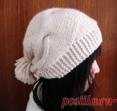Интересная женская шапочка (Вязание спицами) — Журнал Вдохновение Рукодельницы