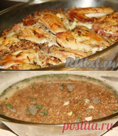 Grechka con la gallina, tomlennaya en el horno