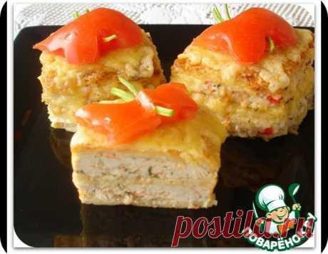 Вафельные квадратики с курицей – кулинарный рецепт